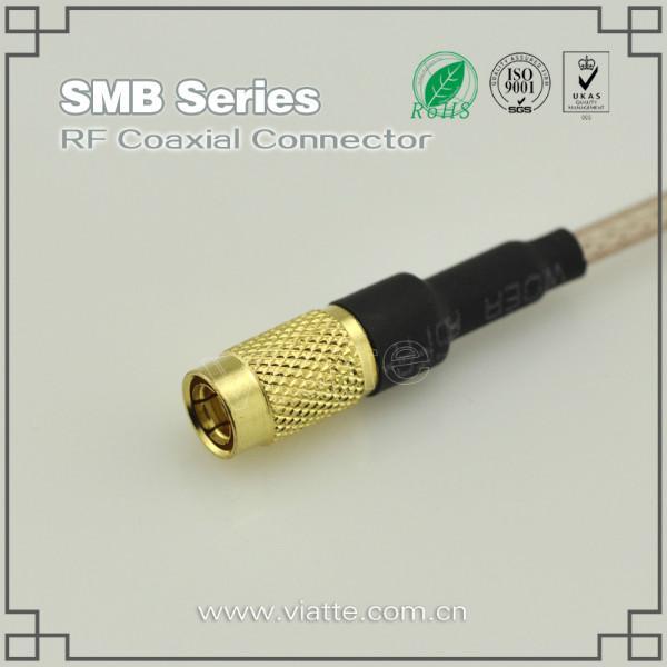 供应SMB母头母针直式转接头 铆压接RG178_RG196同轴电缆 SMA转接头
