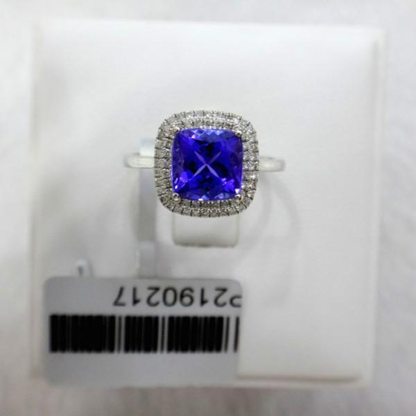 供应18K金镶钻方形坦桑石戒指坦桑宝石