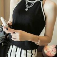 黑色针织吊带衫图片