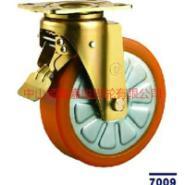 重型铝芯橙色聚氨脂刹车脚轮图片