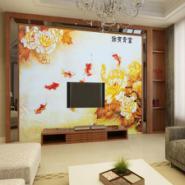 3D无缝壁画中式电视背景九鱼图图片