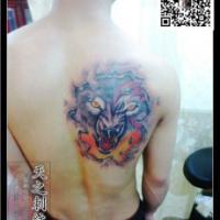 供应狼头纹身图案十字架纹身青岛纹身